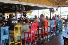 The Pilot House Bar and Restaurant at the Marina, in Key Largo. The glass bottom bar Florida Travel, Florida Keys, South Florida, Vacation Destinations, Vacation Spots, Key Largo Restaurants, Bar Key, House Bar, House Keys