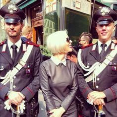 With my handsome Italian carabinieri! Arrest me!- Linda Fargo #mfw (Taken with Instagram)