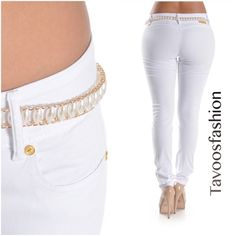 NEW: Cute Skinny White Pants Looks just like the pic.NWOT. White Skinny Jeans.  Push UP Style. Clean white denim 5-pocket styling with front rivet detail 76% Cotton/ 22% Polyester/ 2% Spandex Machine wash. Tumble dry. Free Belt.                                                                                                                                      SIZES= 01579111315 Pants Skinny