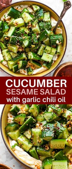 Cucumber-sesame salad with yogurt, mint, and garlicky chili oil: A fresh, bright, crunchy, and totally addictive salad that's got it all. #cucumberrecipes #cucumbersalad #asiancucumbersalad Vegetarian Side Dishes, Healthy Side Dishes, Side Dish Recipes, Dinner Recipes, Lunch Recipes, Breakfast Recipes, Healthy Asian Recipes, Healthy Eating Recipes, Healthy Food