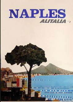 Naples - Alitalia Vintage travel poster Napoli #beach #spiaggia #essenzadiriviera.com www.varaldocosmetica.it/en