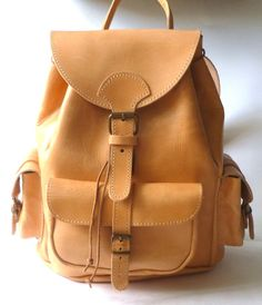 Natural Leather Backpack Medium  three pockets by BlueDrop on Etsy, €105.00