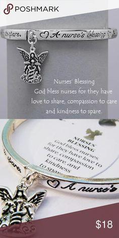 """Nurse Charm Bracelet Nurse Charm / Message / Bangle Bracelet •   Piece No : chiq18062000 •   DIAMETER : 2 5/8""""  •   CHARM : 1/2"""" L  •   ANTIQUE SILVER Jewelry Bracelets"""
