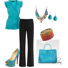 Bright & beautiful - turquoise brings black to life for an elegant evening look on date night!    Turquoise Multi, created by slmon on Polyvore