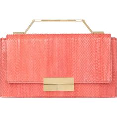 J. Mendel Melodie Clutch featuring polyvore, fashion, bags, handbags, clutches, purses, pink, coral purse, coral handbag, pink clutches, red handbags and red clutches