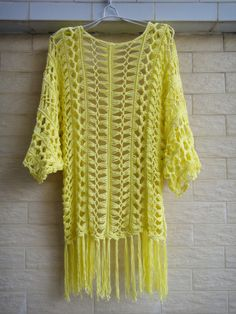 Fringe Kimono Cover Up Womens Tunic Top por Tinacrochetstudio