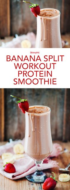 Split Workout Protein Smoothie Because seriously, who doesnt love the flavors of a banana split? - Banana Split Workout Protein SmoothieBecause seriously, who doesnt love the flavors of a banana split? Protein Smoothies, Smoothie Drinks, Breakfast Smoothies, Fruit Smoothies, Pineapple Smoothies, Fitness Smoothies, Chocolate Smoothies, Diabetic Smoothies, Best Smoothie Recipes