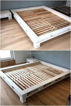 For those who want a unique looking bed; here is the bed frame without the legs. The bed support is small wood pallet boxes and the bed is a little bit above the floor. The foam is fitted inside the space between the raised pallet border. Wooden Pallet Beds, Pallet Bed Frames, Pallet Boxes, Diy Pallet Bed, Diy Bed Frame, Diy Pallet Furniture, Diy Pallet Projects, Wood Pallets, Pallet Patio