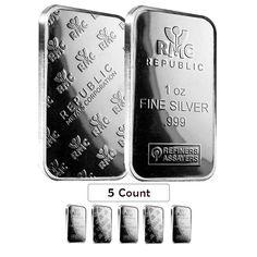 Lot of 5 - 1 oz Republic Metals (RMC) Silver Bar .999 Fine
