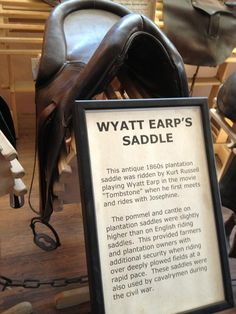 Antique plantation saddle ridden by Kurt Russell in the film Tombstone. Photo by D. West.