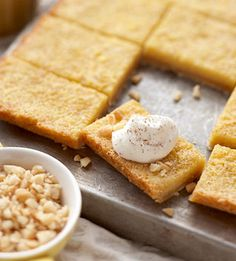 Creamy Eggnog Bars These creamy, nutmeg-spiked dessert bars are guaranteed to be a party favorite. Using a sugar cookie mix makes them quick and simple to prepare.