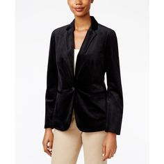 Charter Club Velvet Single-Button Blazer, (2.845 RUB) ❤ liked on Polyvore featuring outerwear, jackets, blazers, deep black, velvet jacket, velvet blazer, charter club jackets, blazer jacket and charter club blazer