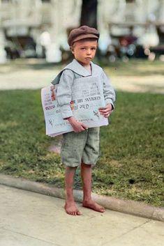 """Newsie"" in Mobile, Alabama. Colorized by Steve Smith. #newsie #newspaper #city #worldwar1 #boy #child"
