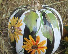 Fall Mantle decor, Decorative Painted Pumpkin, pumpkin, Country Decor, Fall F… – Bloğ Faux Pumpkins, White Pumpkins, Painted Pumpkins, Halloween Pumpkins, Fall Halloween, Halloween College, Halloween Crafts, Halloween Ideas, Happy Halloween