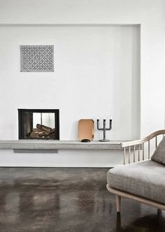 Neutral Danish living room with polished concrete floors Love this floor color, but not polished Danish Living Room, Scandi Living, Minimalist Fireplace, Minimalist Living, Contemporary Fireplace Designs, Style At Home, Fishermans Cottage, Interior Architecture, Interior Design