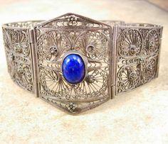 Vintage sterling filigree Egyptian revival bracelet EXOTIC WIDE Blue...