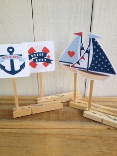 Vintage Sailor Baby Shower Cupcake Toppers Food Pick Sailboat Anchor