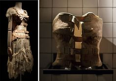 On the left, a Gaultier corset dress from 1994 that was inspired by Kahlo's plaster supports, like the one shown at right. Photos by Miguel Tovar.