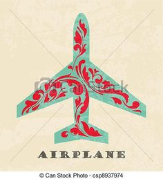 avion, Symbole, retro, affiche - csp8937974