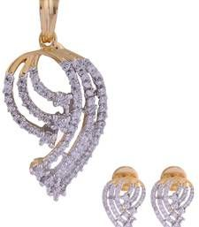 Buy High Quality American Diamond CZ stones pendant with earrings gold plated Pendant online