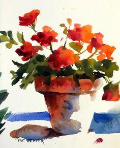 GERANIUMS FLORAL Original Watercolor Painting by Pat Weaver
