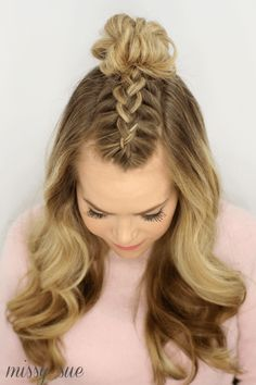 Mohawk Braid Top Knot - Hair and beauty - Braided Hairstyles Tutorials, Box Braids Hairstyles, Straight Hairstyles, Girl Hairstyles, Braid Tutorials, Hair Updo, Elegant Hairstyles, French Braid Hairstyles, Short Haircuts