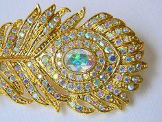 peacock rhinestone hair pin