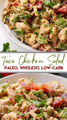 This easy taco chicken salad is a family friendly paleo reci.- This easy taco chicken salad is a family friendly paleo recipe that only takes 15 minutes to whip together. No cooking needed! Its a great salad for meal prep or side dish for any event! Whole30 Chicken Salad, Chicken Tacos, Low Carb Chicken Salad, Avocado Chicken, Chipotle Chicken, Cooked Chicken, Bbq Chicken, Buffalo Chicken, Whole Food Recipes