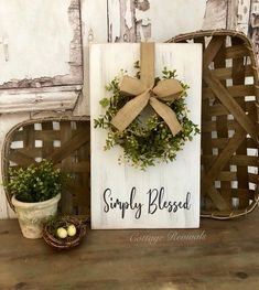 Simply Blessed Sign With Wreath Eucalyptus Wreath Sign Farmhouse Decor White Distressed Types Of Berries, Blessed Sign, Eucalyptus Wreath, Flower Video, Decorative Hooks, Flowers Delivered, Perfect Foundation, Bridal Flowers