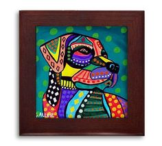 Lab Lovers Gift - Labrador Retriever dog Mexican Folk Art Ceramic Framed Tile by Heather Galler - Ready To Hang Tile Frame Gift