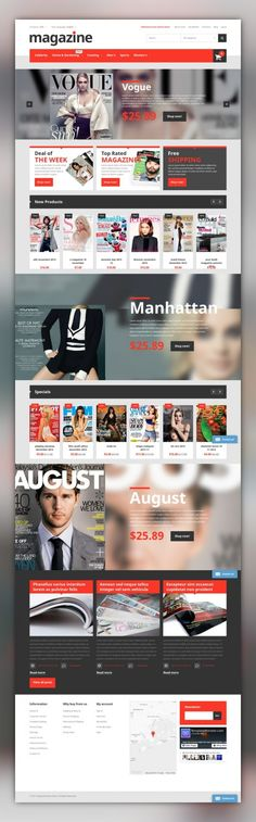Magazine Store Magento Theme E-commerce Templates, Magento Themes, Business & Services, Media Templates, News Portal Templates