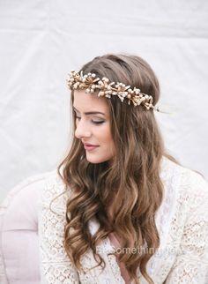 Rustic Gold Bridal Flower Crown Boho Headpiece by BeSomethingNew