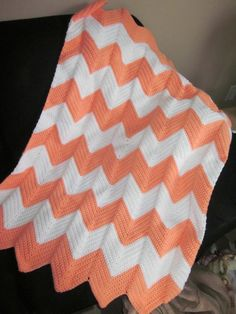 Crocheted Chevron Baby Blankets