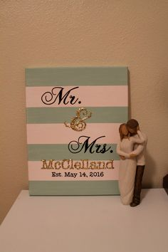 """Personalized Mr. and Mrs. Canvas/ 11""""x14"""" by PennellPieces on Etsy"""
