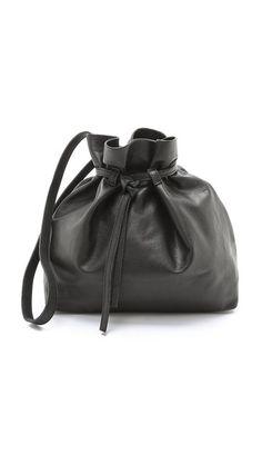 Marie Turnor Accessories New Poubelle Bucket Bag Black Leather Handbags Purses Shoulder