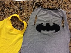 DIY no sew cape - using a t-shirt (old or new), cut along the sides and just inside the sleeves.  Cut around the collar, leaving it intact.  (Cut the front of the collar off, and cut arm holes for smaller kids = no choke)  Trace your super hero logo and cut out felt.  Use fabric glue to avoid sewing.