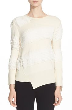 Ruffle Asymmetrical Wool Sweater