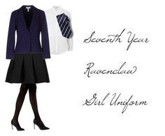 """""""Seventh Year Ravenclaw Girl Uniform"""" by myladyduchess on Polyvore featuring Topshop, Banana Republic, Natori, T By Alexander Wang, Christies à Porter, harrypotter, hogwarts, ravenclaw and witch"""