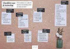 Een voorbeeld planning voor je bruiloft. Klik door naar onze site voor een grotere versie, print 'm uit, en streep af!
