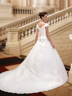 Charming V-Neck Cap Sleeves Appliques Court Train Wedding Dress 2
