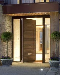 ideas for modern front door entrance wood porches Front Door Porch, Wooden Front Doors, Front Door Entrance, House Front Door, Glass Front Door, House Doors, The Doors, House Entrance, Windows And Doors