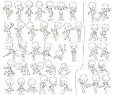 Super deformed (SD) or chibi characters. Drawing Base, Manga Drawing, Figure Drawing, Character Poses, Character Drawing, Character Design, Art Reference Poses, Drawing Reference, Chibi Body