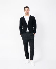Men's Black Cardigan, White Crew-neck T-shirt, Black Wool Dress Pants, White Low Top Sneakers Wool Suit, Wool Pants, Trouser Suits, Suit Pants, Looks Black, White Cardigan, Black Dress Pants, Wool Dress, Men Looks