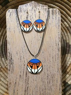 Excited to share this item from my shop: Native American design birch wood necklace pendant and earring set Wooden Necklace, Wooden Earrings, Wooden Jewelry, Pendant Necklace, Native American Design, Native American Pottery, Native American Jewelry, Polymer Clay Jewelry, Resin Jewelry