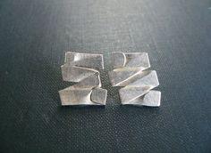 stud silver earrings, Fold formed jewelry, contemporary jewelry,  hammered silver earrings, contemporary stud earrings, metalwork earrings by lucialaredo on Etsy