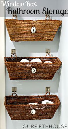 window box bathroom storage. I like these more than most baskets on the wall ideas I've seen.