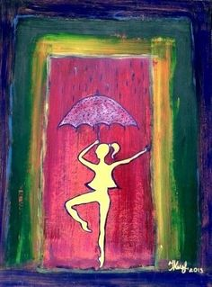 Yellow dancer in the rain.By Ieva Krivma. Acrylic. 30x40 cm. Pressed cardboard