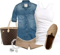 soccer mom outfit: chambray shirt, white tank, khaki shorts, woven slip-ons