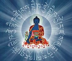 Visualizing the Medicine Buddha Mantra and rays of healing Lapis Lazuli light emanating from the Buddha, and absorbed into the patient (or self) assists in healing. Gautama Buddha, Buddha Buddhism, Tibetan Buddhism, Buddhist Art, Third Eye, Chakras, Vajrayana Buddhism, Buddhist Practices, Spirituality