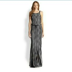 "Parker  Dory striped maxi dress in black Very figure flattering, curve hugging and simply gorgeous black knit maxi dress by Parker. Adjustable straps. 100% polyester. Total length - 68"". Bust across -  13"",  waist across 14""5'.   6429 Parker Dresses Maxi"
